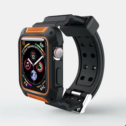 Apple Watch 4 5 44mm Kordon Kayış + Rugged Armor Kılıf Koruyucu Renk: Turuncu