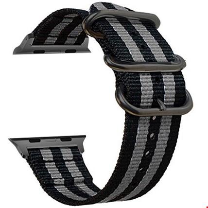 Apple Watch 1 2 3 4 5 Seri 38 40mm Spor Örgü Kanvas TME Kordon Renk: Gri Koyu