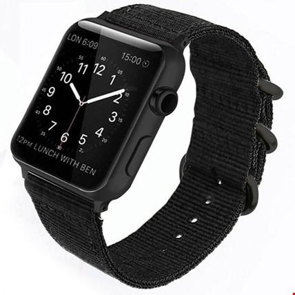 Apple Watch 1 2 3 4 5 Seri 38 40mm Spor Örgü Kanvas TME Kordon Renk: Siyah