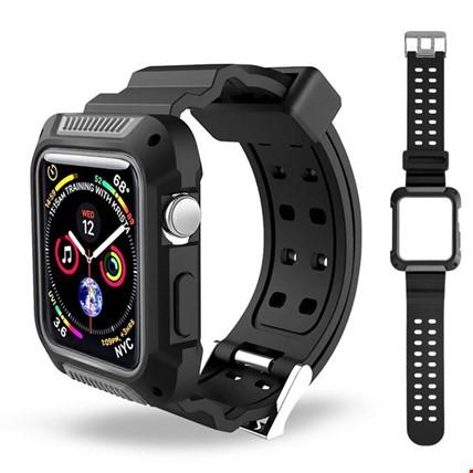 Apple Watch 4 5 40mm TME Kordon Kayış + Rugged Armor Kılıf Koruma Renk: Gri