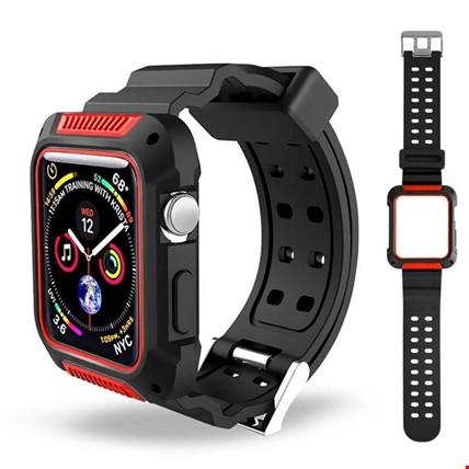 Apple Watch 4 5 40mm TME Kordon Kayış + Rugged Armor Kılıf Koruma Renk: Kırmızı