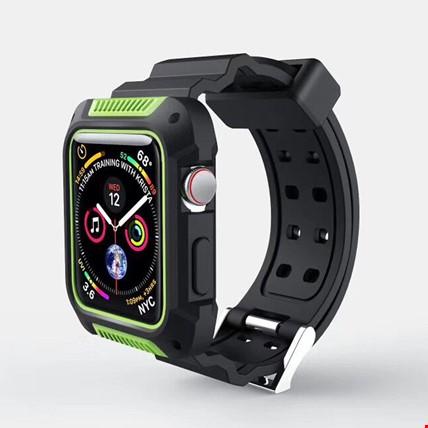 Apple Watch 4 5 40mm TME Kordon Kayış + Rugged Armor Kılıf Koruma Renk: Yeşil