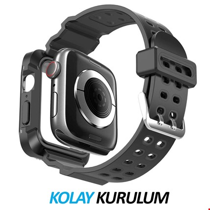 Apple Watch 4 5 40mm TME Kordon Kayış + Rugged Armor Kılıf Koruma