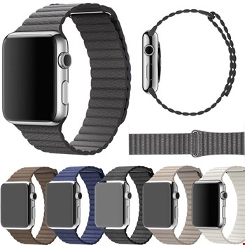 Apple Watch 2 3 4 5 6 42mm ve 44mm Leather Loop TME Kordon