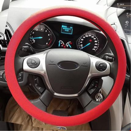 Araç Araba Renkli Direksiyon Silikon Kılıfı Kaydırmaz Renk: Kırmızı