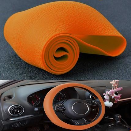 Araç Araba Renkli Direksiyon Silikon Kılıfı Kaydırmaz Renk: Turuncu