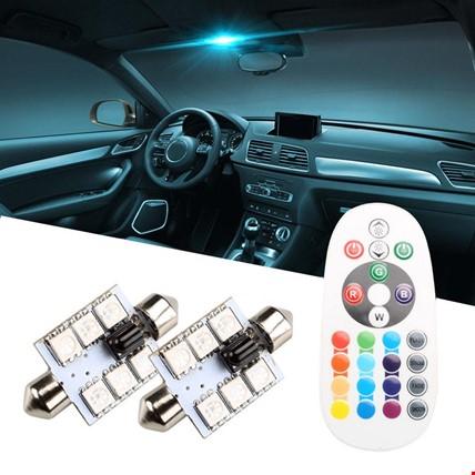 Araç İçi Aydınlatma Led Rgb 16 Renk Kumandalı  Ampül Renkli 36mm