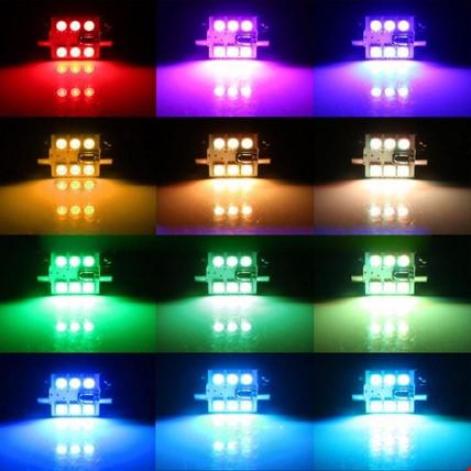 Araç İçi Aydınlatma Led Rgb 16 Renk Kumandalı  Ampül Renkli 39mm