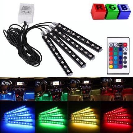 Araç İçi Kumandalı Ayak Altı RGB Led Ambiyans Işığı 12 Led