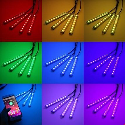 9 Ledli Ayak Altı Led Lamba Uygulama Kontrollü 8 Renk Rgb Kısa