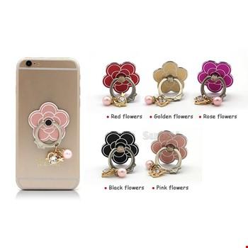 Boncuklı Çiçek i Ring Telefon Yüzük Stand Selfie Yüzüğü 2 Adet