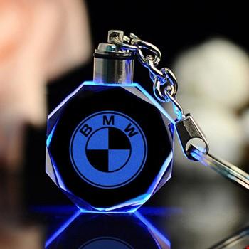 Bmw Logolu Led Işıklı 3D Kristal Led Araba Anahtarlık