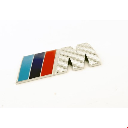 Bmw M Amblem Metal Logo Gümüş  Karbon Logosu Metal 3D Krom
