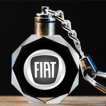 Fiat Logolu Led Işıklı 3D Kristal Led Araba Anahtarlık