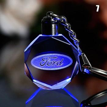 Ford Logolu Led Işıklı 3D Kristal Led Araba Anahtarlık
