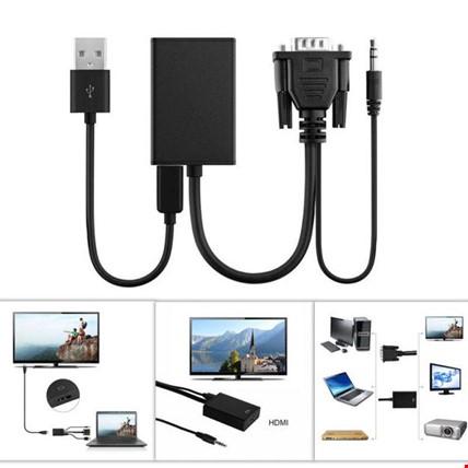 Vga to Hdmi Kablo Dönüştürücü Görüntü ve Ses Çevirici
