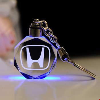 Honda Logolu Led Işıklı 3D Kristal Led Araba Anahtarlık
