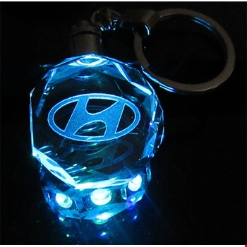 Hyundai Logolu Led Işıklı 3D Kristal Led Araba Anahtarlık