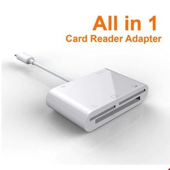 iPhone SD/TF/Mikro SD/CF/XD/M2 Kart Okuyucu Şarj Girişli Adaptör