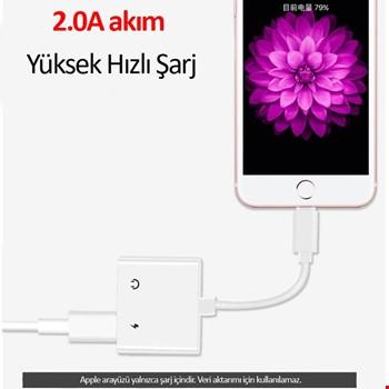 iPhone Lightning Şarj Girişli 3.5 mm Kulaklık Adaptör Kablosu