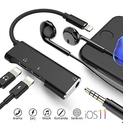 iPhone Şarj Girişli ve Lightning ve 3.5 mm Kulaklık Adaptör Kablo