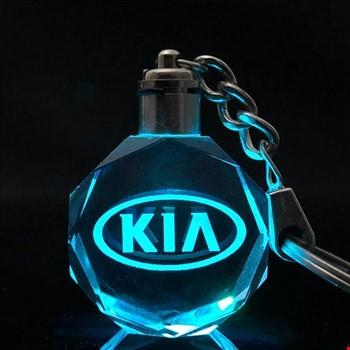 Kia Logolu Led Işıklı 3D Kristal Led Araba Anahtarlık