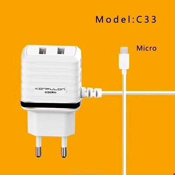 Konfulon C33 2.4A Micro Usb Şarj Aleti + 2 Usb Çıkışı