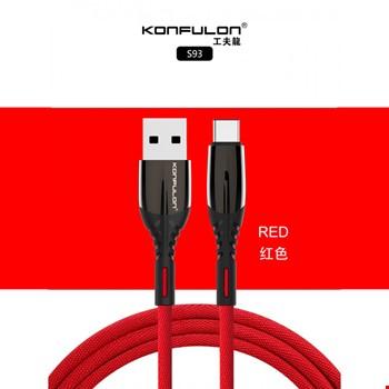 Konfulon S93 Samsung Huawei Mi Type-C 2.4A Işıklı Şarj Kablosu 1m