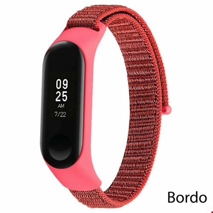 Xiaomi Mi Band 3 4 Loop Kumaş Örgü Spor TME Kordon Kayış Renk: Bordo