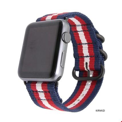 Apple Watch 1 2 3 4 5 Seri 42 44mm Spor Örgü Kanvas TME Kordon Renk: Kırmızı