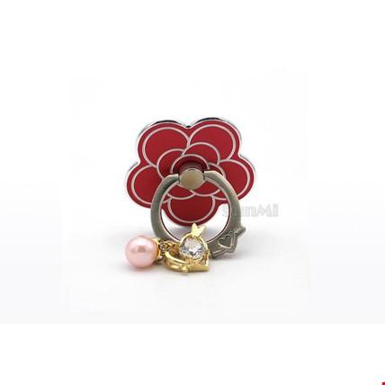 Boncuklı Çiçek i Ring Telefon Yüzük Stand Selfie Yüzüğü 2 Adet Renk: Kırmızı
