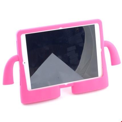 iPad Air 2 Kılıf Çocuklar İçin Silikon Kapak Standlı Renk: Pembe Koyu