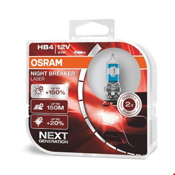 Osram Night Breaker Laser HB4 9006 Ampül %150 Fazla %20 Beyaz Işık