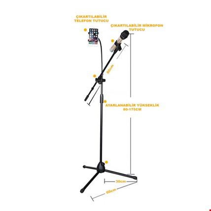 Profesyonel Mikrofon ve Telefon Tutucu Tripod Karaoke Kayıt + Pop