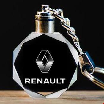 Renault Logolu Led Işıklı 3D Kristal Led Araba Anahtarlık