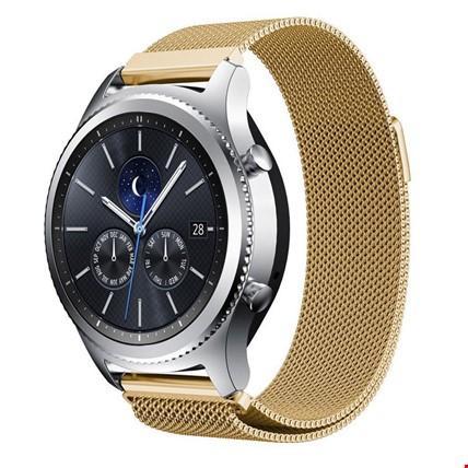 Samsung Gear S3 Frontier&Classic Metal Hasır Mıknatıslı TME Kordon Renk: Gold