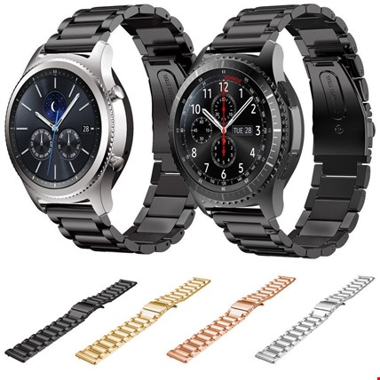 Samsung Gear S3 Frontier & Classic Metal TME Kordon Kayış Steel Renk: Siyah