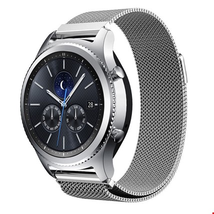 Samsung Gear Watch 42mm Metal Hasır Mıknatıslı TME Kordon 20mm Renk: Gümüş