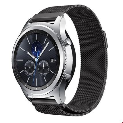 Samsung Gear Watch 42mm Metal Hasır Mıknatıslı TME Kordon 20mm Renk: Siyah