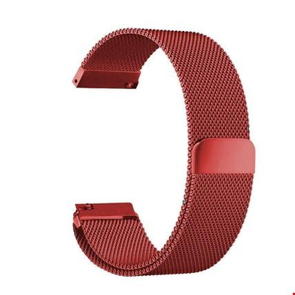 Samsung Gear Watch 42mm Metal Hasır Mıknatıslı TME Kordon 20mm Renk: Kırmızı