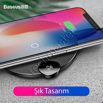 Baseus Hızlı Kablosuz Wireless Şarj Padi LED Ekran iPhone Samsung