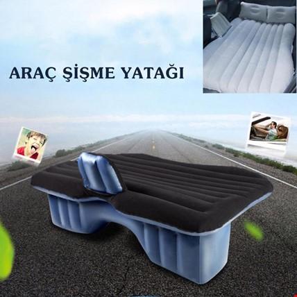 Şişme Araba Arka Koltuk Yatağı Seyahat Minderi + Hava Kompresörü