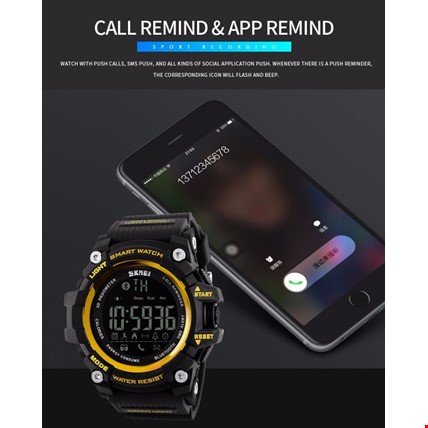Skmei 1227 Akıllı Bluetooth Android İos Uyumlu Erkek Kol Saati Renk: Altın  Dore