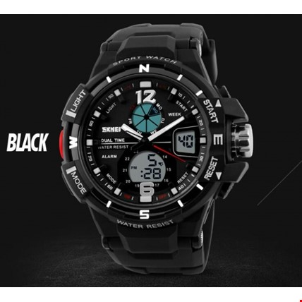 Skmei 1148 Dijital Analog Su Geçirmez Asker Saati Spor Kol Saati Renk: Siyah