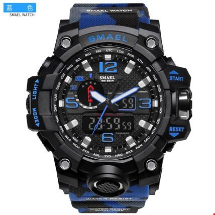 Smael 1545D S-Shock Kamuflaj Su Geçirmez Spor Asker Kol Saati Renk: Mavi