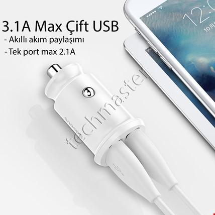 Baseus Hızlı Araç Şarj Aleti İki Usb iPhone Samsung Huawei Xiaomi Renk: Beyaz