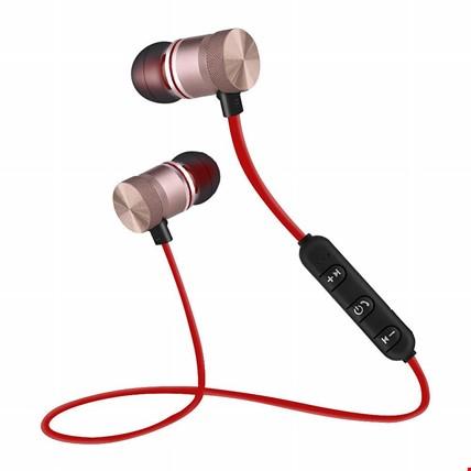 TME Mıknatıslı Mikrofonlu Kablosuz Stereo Bluetooth Spor Kulaklık Renk: Kırmızı