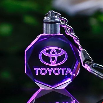 Toyota Logolu Led Işıklı 3D Kristal Led Araba Anahtarlık