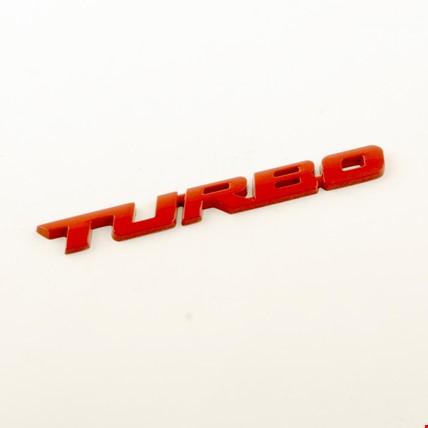 Turbo Metal Kırmızı Amblem Dekoratif Paslanmaz