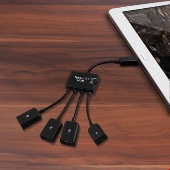 4in1 USB-C 3.1 Tip C USB 2.0 OTG Çoklu Hub Adaptörü Şarj Kablosu